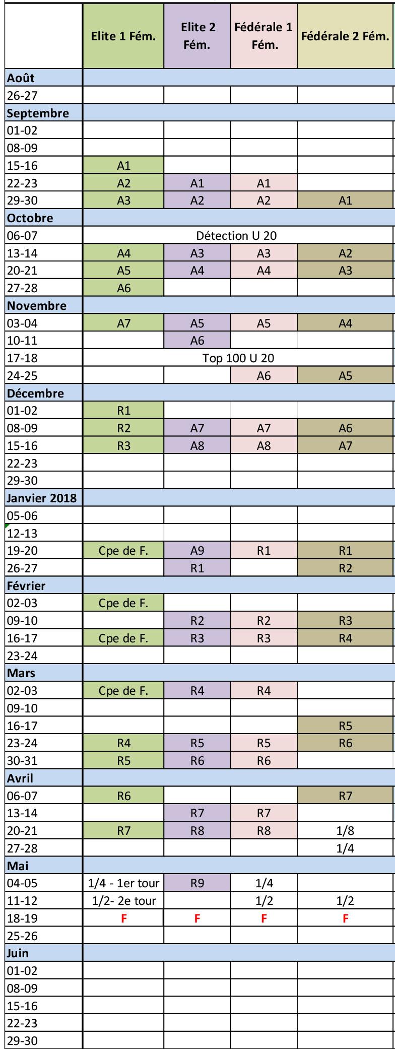 calendrier seniors féminines 2018-2019